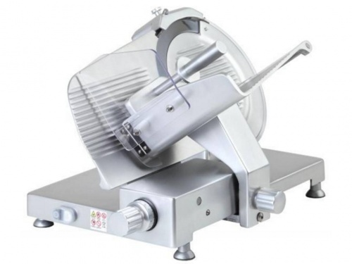 Belt driven gravity slicer, with anodized aluminum knobs and feet, blade 300 mm, 330 mm, 350 mm, 370 mm, 380 mm, available in monophase and threephase, norma CE