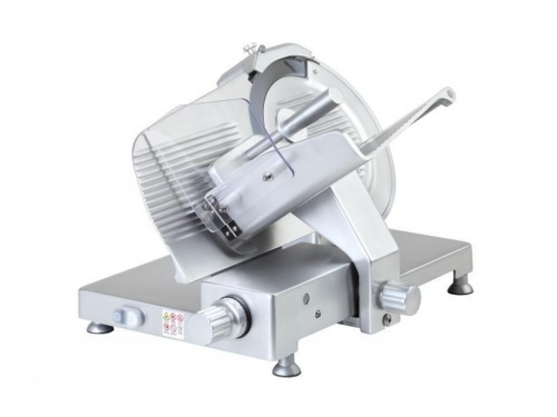 Gear driven gravity slicer, with anodized aluminium knobs and feet, available in monophase and threephase, norma CE