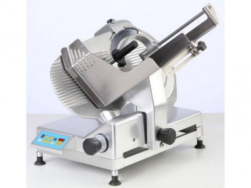 Automatic gear driven gravity slicer with slice counter, blade 350 mm, available in monophase and threephase, norma CE