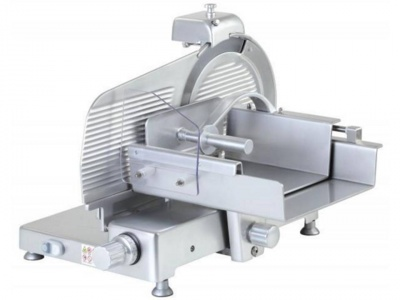 Vertical meat slicer with anodized aluminum knobs and feet, blade 300mm, 330mm, 350mm, 370mm, 380mm, available in moniphase and threephase, norma CE