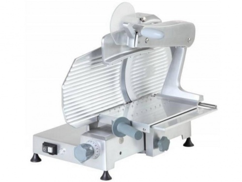 Vertical slicer for cold cuts, is equipped with 2 columns sliding food grip, blade 250 mm, available in monophase and threephase, norma CE