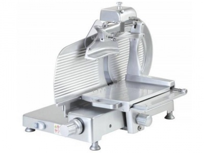 Vertical slicer for cold cuts with anodized aluminum knobs and feet, available in monophase and threephase versions, norma CE