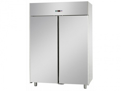 GN 2/1 mono-piece fridge cabinet in Stainless Steel TN 0/10 ° C with 2 doors, 1400 lt mis. 1420x800x2100h
