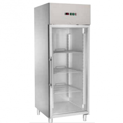 Ventilated Refrigerated Cabinets GN 2/1 with glass door and low temperature -18 -22°C, dim. 740x850x2010h mm