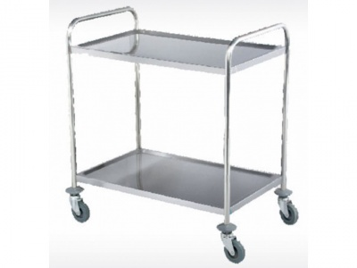 Trolley with 2 shelves in stainless steel, dimensions 860x540x940 mm