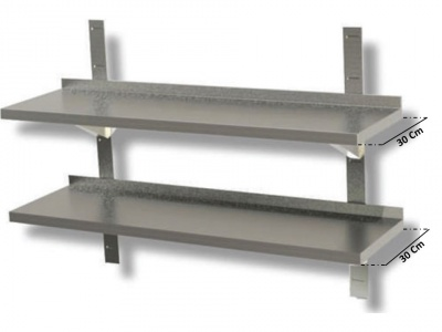 Double stainless steel shelf  Various sizes, depth 30