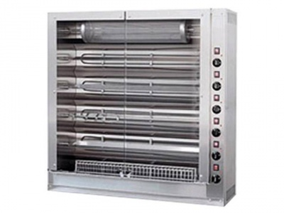 Vertical rotisserie with tempered glass, capacity n.36 chickens, dim.1120 x 390 x 1220 h mm