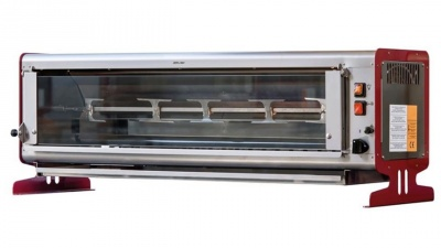 Vertical rotisserie with tempered glass front, capacity n.6 chickens, dim.1120 x 390 x 390 h mm
