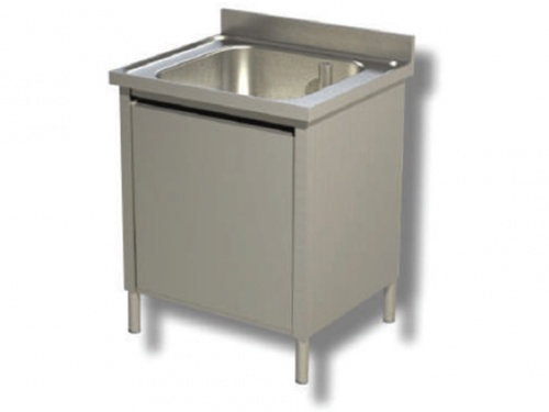 Washhouse on cabinet, 1 bowl with shelf and upstand, depth 70