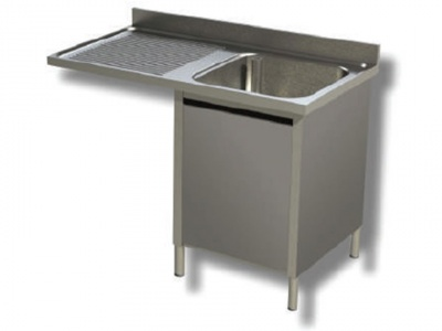 Wash basin on stainless steel cabinet, 1 basin with dishwasher compartment and drip tray on the left, with shelf and upstand, depth 70