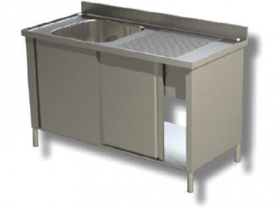 Sink on cabinet in stainless steel, 1 bowl and drip on the right, with shelf and upstand, depth 60