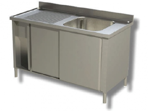 Sink on cabinet in stainless steel, 1 bowl and drip on the left, with shelf and upstand, depth 70