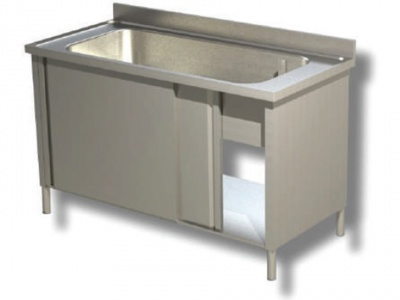 Sink on sides in stainless steel, 1 large bathtub with shelf and upstand, depth 70 copia