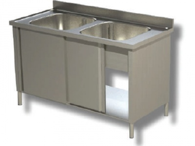 Sink on cabinet in stainless steel, 2 bowls with shelf and upstand, depth 70