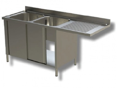 Sink on cupboard in stainless steel, 2 bowls with dishwasher compartment and drip tray on the right, with shelf and upstand, depth 60