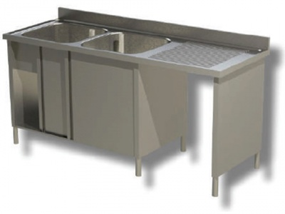 Sink on cupboard in stainless steel, 2 bowls with dustbin and drainer on the right, with shelf and upstand, depth 70