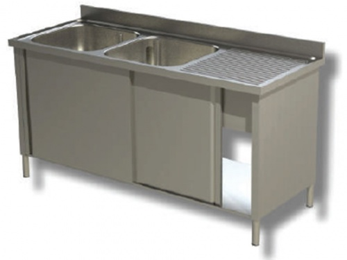 Sink on cabinet in stainless steel, 2 basins and drip on the right, with shelf and upstand, depth 70