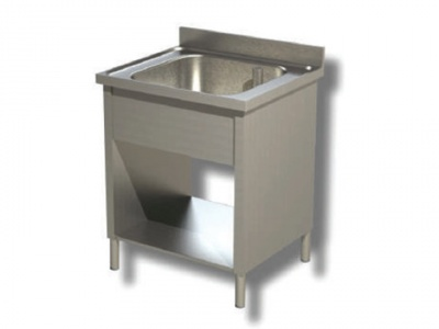 Washhouse on hips, 1 bowl with shelf and upstand, depth 70