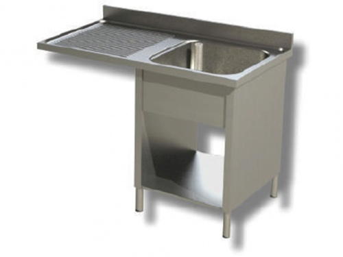 Sink on sides in stainless steel, 1 bowl with dishwasher compartment and drip on the left, with shelf and upstand, depth 60
