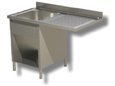 Sink on sides in stainless steel, 1 basin with dishwasher compartment and drip on the right, with shelf and upstand, depth 60