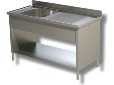 Sink on sides in stainless steel, 1 bowl and drip on the right, with shelf and upstand, depth 70