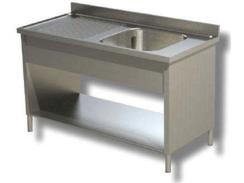 Sink on sides in stainless steel, 1 bowl and drip on the left, with shelf and upstand, depth 70