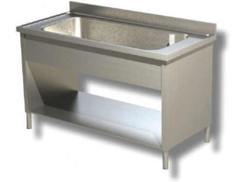 Sink on sides in stainless steel, 1 large bathtub with shelf and upstand, depth 70