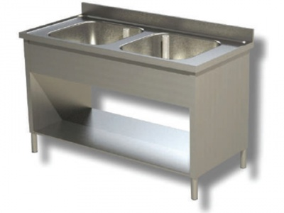 Sink on sides in stainless steel, 2 bowls with shelf and upstand, depth 70