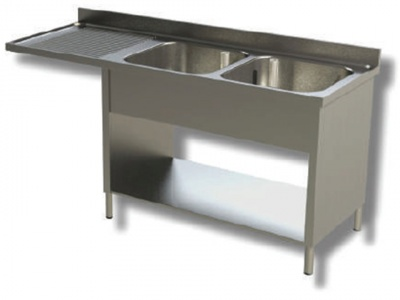 Sink on sides in stainless steel, 2 bowls with dishwasher compartment and drainer on the left, with shelf and upstand, depth 60