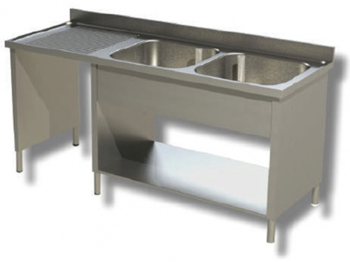 Sink on sides in stainless steel, 2 bowls with dustbin and drainer on the left, with shelf and upstand, depth 60