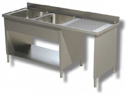 Sink on sides in stainless steel, 2 bowls with dustbin and drainer on the right, with shelf and upstand, depth 70