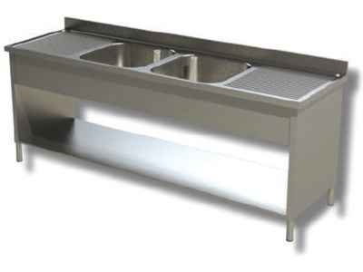 Sink on sides in stainless steel, 2 basins and 2 drainers, with shelf and upstand, depth 70