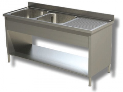 Sink on sides in stainless steel, 2 basins and drip on the right, with shelf and upstand, depth 70