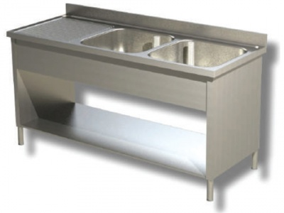 Sink on sides in stainless steel, 2 bowls and drainer on the left, with shelf and upstand, depth 70