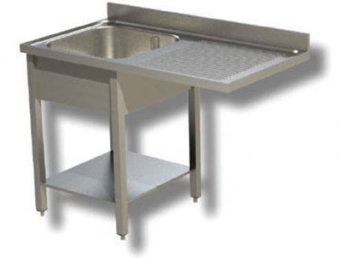 Sink on stainless steel legs, 1 bowl with dishwasher compartment and drip tray on the right, with shelf and upstand, depth 60