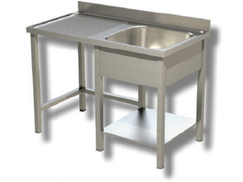 Sink on stainless steel legs, 1 bowl with dustbin and drip compartment on the left, with shelf and upstand, depth 70