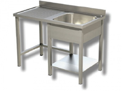 Sink on stainless steel legs, 1 bowl with dustbin and drip compartment on the left, with shelf and upstand, depth 60