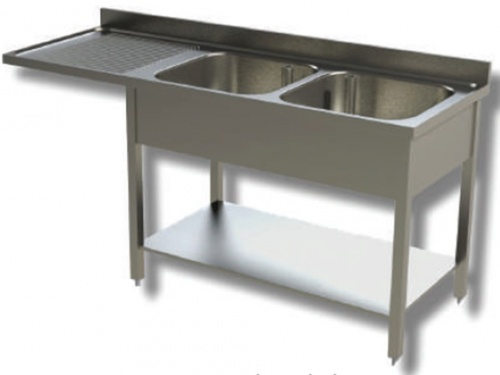 Sink on stainless steel legs, 2 bowls with dishwasher compartment and drip tray on the left, with shelf and upstand, depth 70