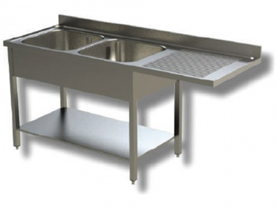 Sink on stainless steel legs, 2 bowls with dishwasher compartment and drip tray on the right, with shelf and upstand, depth 60