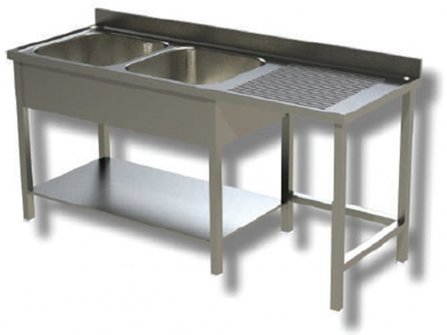Sink on stainless steel legs, 2 bowls with dustbin and drainer on the right, with shelf and upstand, depth 70