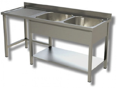 Sink on stainless steel legs, 2 bowls with dustbin and drainer on the left, with shelf and upstand, depth 60