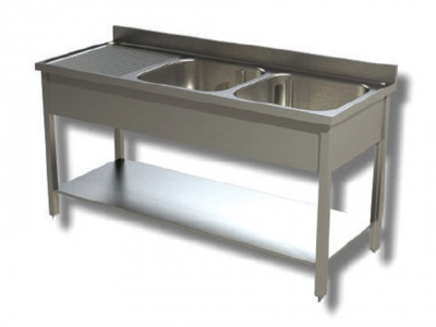Washhouse on legs with 2 bowls and shelf, depth 60