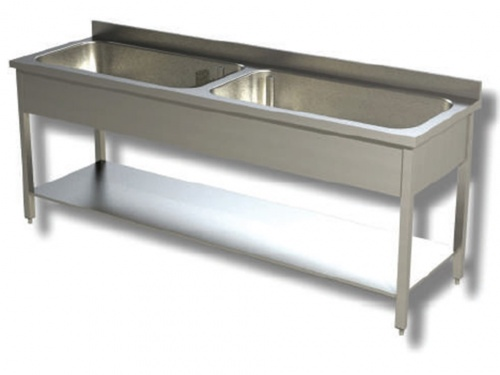 Washbasin on stainless steel legs, 2 large bowls, with shelf and upstand, depth 70