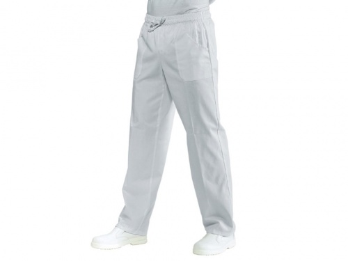 Trousers with elastic -white
