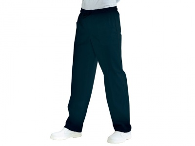 Trousers with colored polyester cotton elastic
