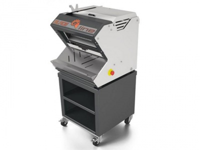 Automatic bread slicer with shelved structure on wheels