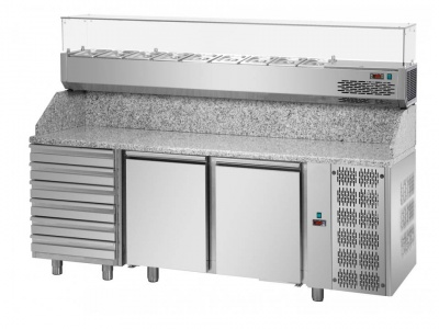 3 doors Refrigerated Pizza Counter 600x400 with granite working top, refrigerated display and units on the left side  copia