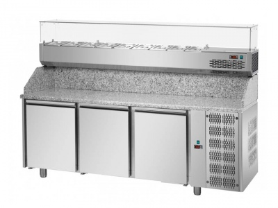 3 doors Refrigerated Pizza Counter 600x400 with granite working top, refrigerated display and units on the left side