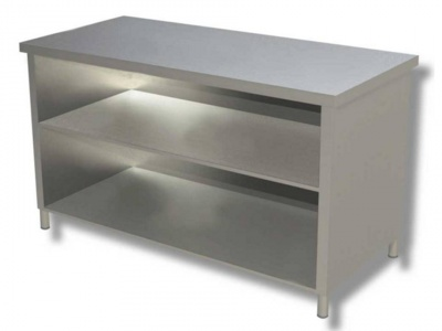 Open cabinet in stainless steel with 2 shelves, model 70