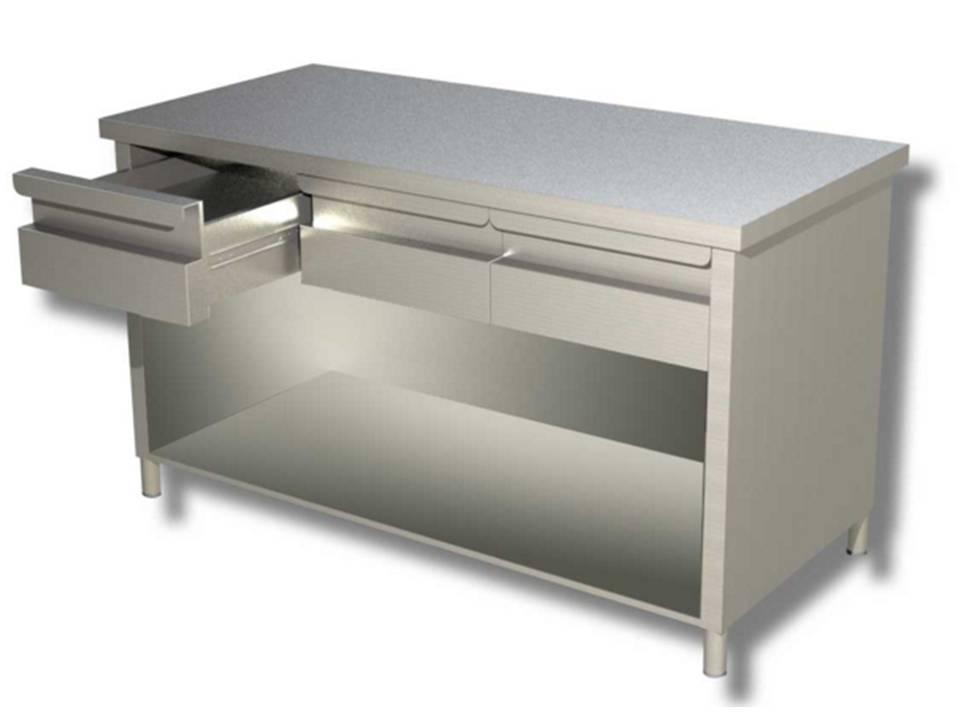 Mondial chef tavolo a giorno in acciaio inox con cassetti modello 70